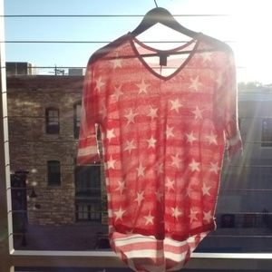Other - Stars + Stripes Sheer Top Medium